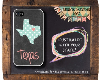 Personalized iPhone Case, State Love TEXAS iPhone Case, iPhone 4, 4s, iPhone 5, 5s, 5c, iPhone 6, 6s, 6 Plus, Phone Cover, Phone Case