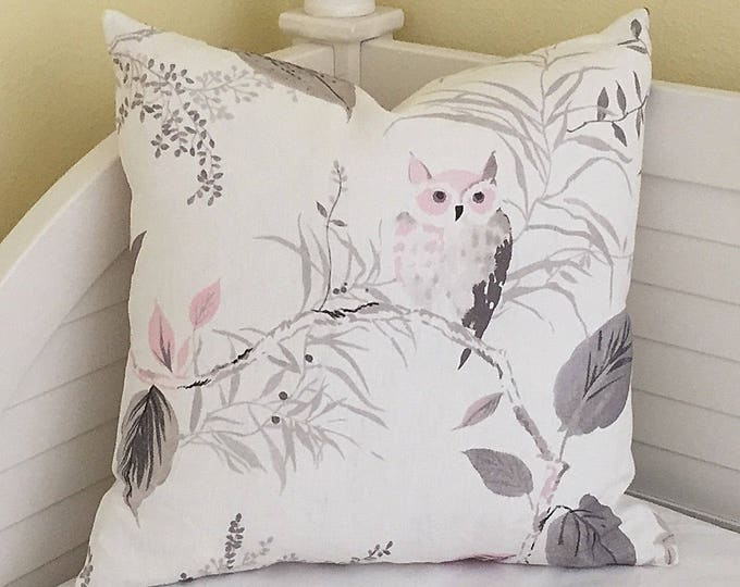 Kravet Owlish in Blush Designer Pillow Cover, Handmade with Kravet's Kate Spade Fabric, Select Your Size Pillow, Pillow Sham, Pink and Gray