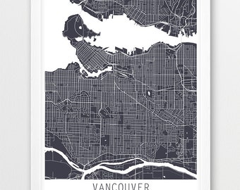 Vancouver poster etsy vancouver city urban map poster vancouver street map print grey vancouver canada print modern art travel poster home decor printable art gumiabroncs Image collections