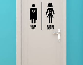 Bat Super Woman Women Bathroom Restrooms Sign Superhero
