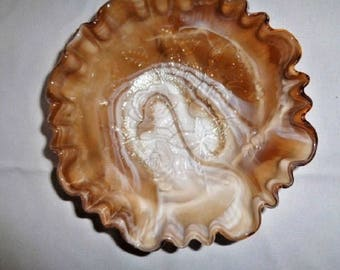 """Imperial Glass Chocolate Slag Footed Open Rose Bowl CRE 8"""""""