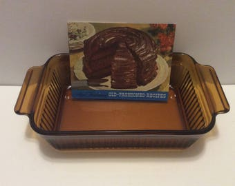 Vintage Fire King Amber Glass Bread Loaf Pan with Vintage Recipe Booklet