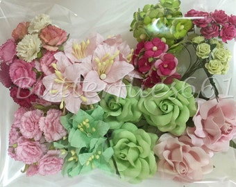 75 Mixed Sizes of Pink Green Handmade Mulberry Paper Flowers