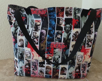 The Walking Dead, Zombies, Reusable Farmers Market / Grocery / Shopping Bag / Tote