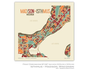 Isthmus – Madison, Wisconsin Art Map Print (Dane County) by James Steeno