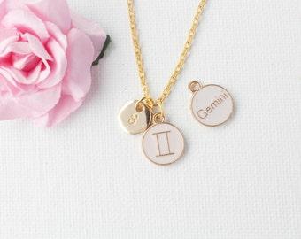 Gemini Zodiac Sign Astrology Necklace, gemini necklace, star sign necklace,star sign necklace, May and June birthday / GFZSSNGEM1