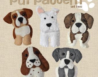 Cute plush Dogs sewing pattern set Two, instant download, felt dog, keyring, boxer, scottish terrier, great dane, saint bernard, springer