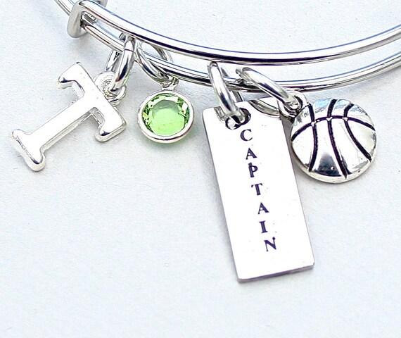 Basketball Charm Bracelet: Basketball CAPTAIN Bangle Basketball Charm Bracelet