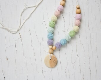 Scandi Rainbow Teething Necklace - Mom Necklace, Chewing Necklace, Breastfeeding, Easter Baby Gift - NR06