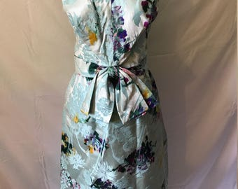 Beautiful 1960's Blue Floral Dress w/ Bow