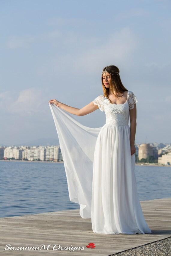 Wedding Dress Grecian Wedding Gown Long Bridal Dress Lace