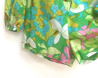 Retro vintage pastel floral shorts playsuit size Small