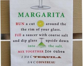Torchon - recette du Cocktail MARGARITA - Margarita grande idée - serviette de cuisine ou Bar serviette
