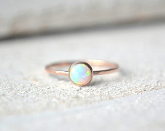 Rose Gold Opal Ring- Opal Ring, Dainty Opal Ring, Pink Gold Opal Ring, Opal Stacking Ring, Opal Gemstone Ring, Opal Ring Rose Gold