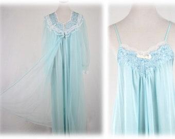 1970s Aqua Blue Nylon Chiffon Long Robe and Nightgown Peignoir Set Medium