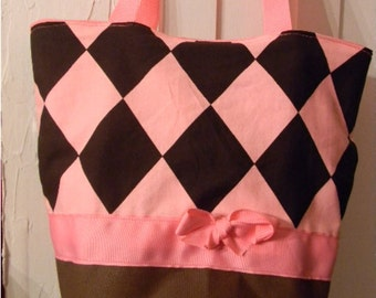 Pink Classic Jester Diamond Argyle  BAG Purse -Tote or Diaperbag