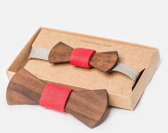 """Wooden Bow Tie """"Classy"""" - for Adults and Kids"""