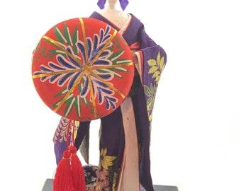 Japanese washi paper doll , Fujimusume, Washi Ningyo