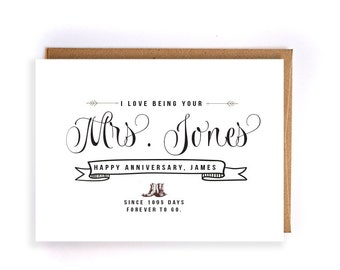 Custom name 3rd anniversary cards for her, leather anniversary card, cute handmade greeting cards for husband,anniversary gifts for him GC37