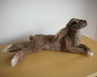 Hand Made Needle Felted Large Reclining Hare