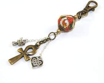 Spiritual KeyChain or Bag Charm, Ankh, Angel & Celtic Heart, Clay bead