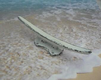"Boat Cleat Cast Iron White 5 5/8"" Hook Shabby Elegance Cottage Chic Coastal Nautical Sailboat Dock Cleats Drawer Pull Decor"