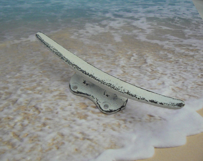 """Boat Cleat Cast Iron White 5 5/8"""" Hook Beach Shabby Cottage Chic Dock Cleats Drawer Pull Decor"""
