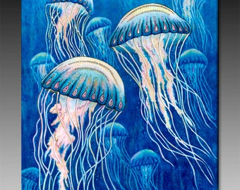 Jellyfish Ceramic Tile Wall Art