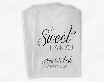 A Sweet Thank You Wedding Candy Buffet Treat Bags - Black Personalized Favor Bags with Names and Wedding Date (0153)