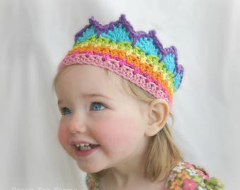 Rainbow Birthday, Birthday Crown, Rainbow Crown, Rainbow Princess, Toddler Crown, 1st Birthday Crow, Rainbow Crochet, Crochet Crown