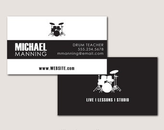 Modern drummer etsy black and white personal business cards for drummer or drum teacher fully customizable printed colourmoves