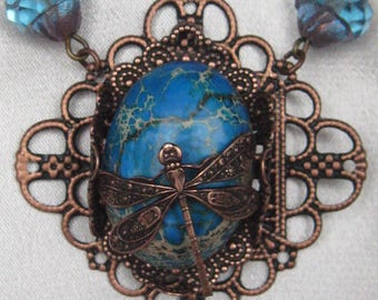 Copper and Turquoise Dragonfly Necklace and Earring Set