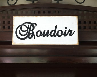 Boudoir Sign Plaque French Bedroom Chic Shabby Style Francophile 12.5 Wooden You Pick from 10+ Colors Hand Painted