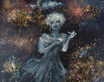 Woman portrait in a night sky background and white birds. Poetic art.
