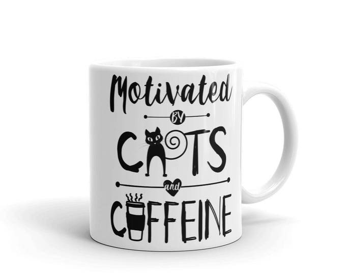 Motivated By Cats and Caffein Mug | Cat Mom Coffee Mug | Coffee Mug for Cat Mom | Mug for Cat Mom | Cat Mama Mug | Cat Lovers Coffee