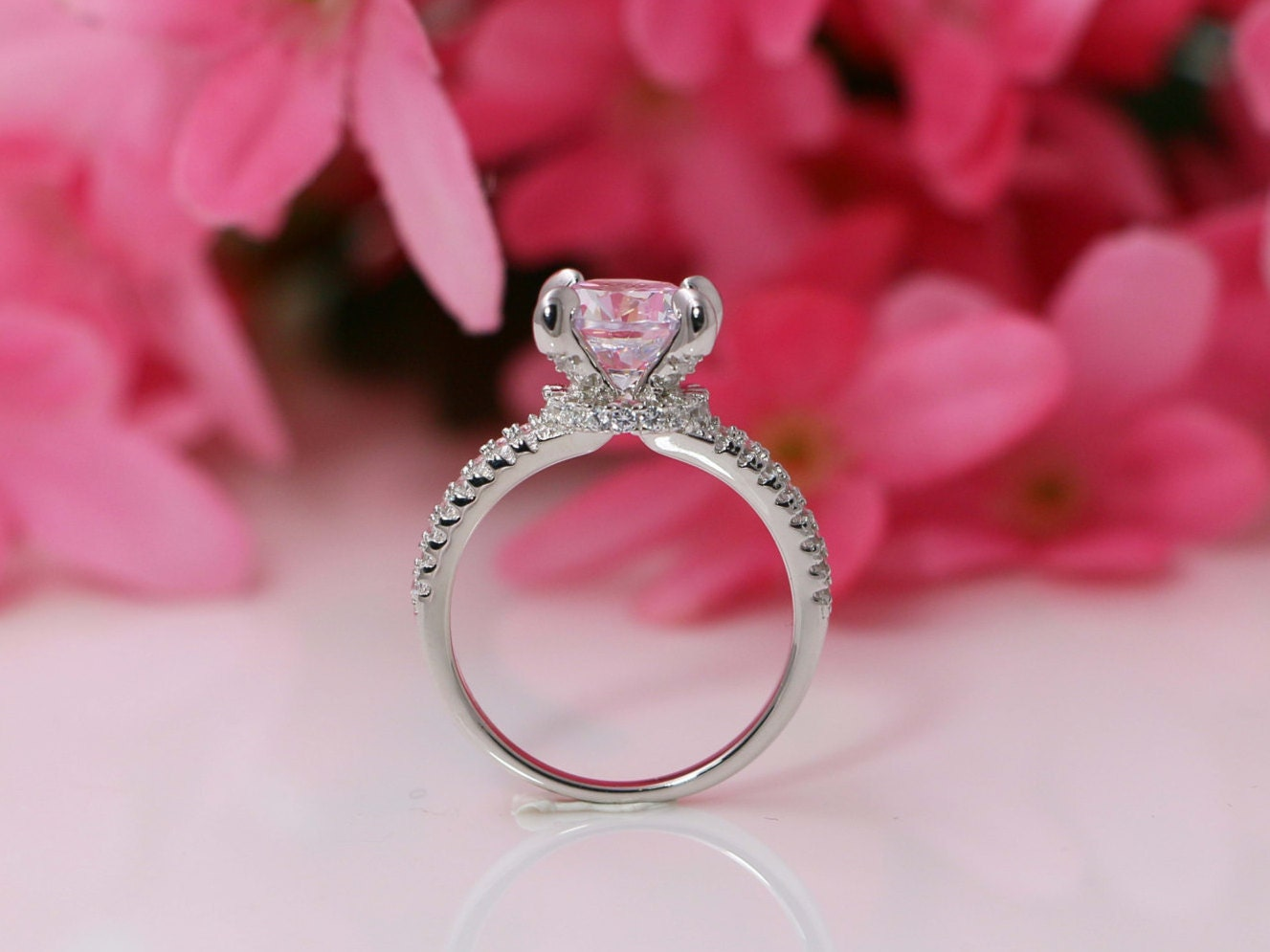 2.0CT Round Cut Engagement Ring Round Solitaire Ring