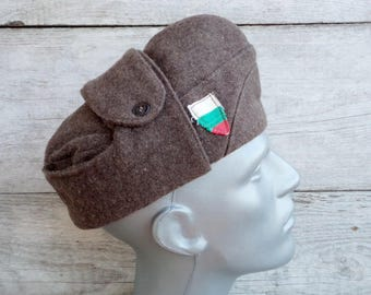 Vintage Army Hat, Soldiers Wool Cap, Old Bulgarian Military Hat, Brown Wool Hat, Military Uniform Hat, Cap with Bulgarian Flag, Winter Hat