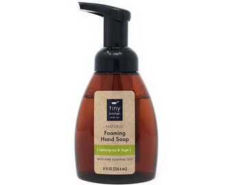 Lemongrass & Sage Foaming Hand Soap   Made with Organic Base Oils and Pure Essential Oils, Natural, Vegan, Sulfate and Paraben Free