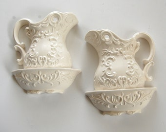 Vintage Wall Pockets, Bowl and Pitcher, Napcoware, Shabby White Wall Decor, Cottage