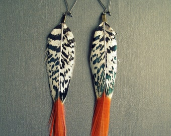 Boho Earrings - Long Feather Earrings - Black White Orange - Dangle Earrings - Long Earrings - Bohemian Earrings - Boho Jewelry