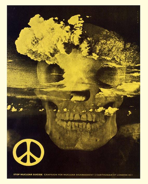 Skull Nuclear Bomb Vintage Enamel Metal TIN SIGN Wall Plaque