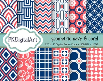 "Geometric Digital Paper - ""Geometric Navy & Coral""  Scrapbook Paper Backgrounds Design Projects Crafting Supplies in Navy Coral"