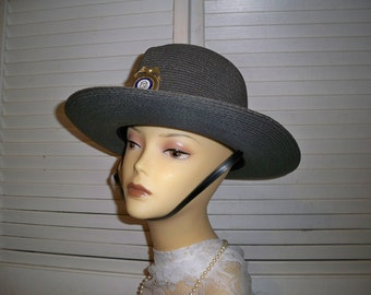 Stratton Hat,  made in Chicago. Summer Highway Patrol Hat, Strap under the chin, State of Georgia Security Badge on Hat