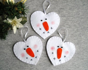 Cute Snowman Ornament - Christmas Snowman Decor - Felt Ornament - Handmade Christmas Ornament - White Christmas Decor - Gift Idea