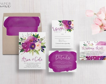 Wedding Invitation | Floral Wedding Invitation Suite | Floral Invitation | Purple Flower Invitation | Floral Printed Wedding Suite | Aria