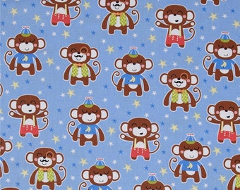 Michael Miller Chimp Daddy Blue Monkey Cotton Quilt Fabric   By the  Yard