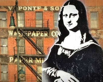 Mona in the City Mixed Media Graffiti Art Painting on Photo Transfer Original Art on Handmade Canvas Home Decor Classic Art
