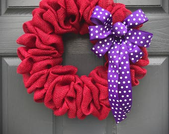 Red Burlap Wreath, Red Purple, Purple Polka Dots, Small Red Wreaths, Small Burlap Wreath, Door Decor Red, Polka Dot Wreath, Gift for Her