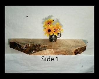 "Live Edge Shelf Reversible Floating Shelf Rustic Maple Dramatic Grain 25 1/2"" S-3"