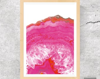 Agate Poster, Pink Agate Poster, Agate Print, Agate Crystal, Crystal Print, Pink Poster, Volcanic Rock Poster, Texture, Printable Download